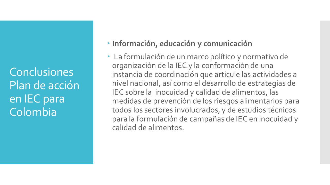 Conclusiones Plan de acción en IEC para Colombia