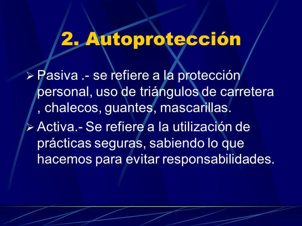 2. Autoprotección Pasiva .- se refiere a la protección personal, uso de triángulos de carretera , chalecos, guantes, mascarillas.