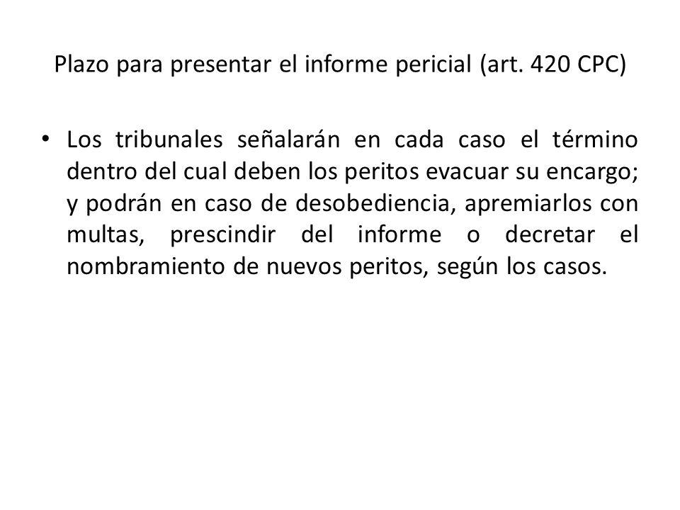 Plazo para presentar el informe pericial (art. 420 CPC)