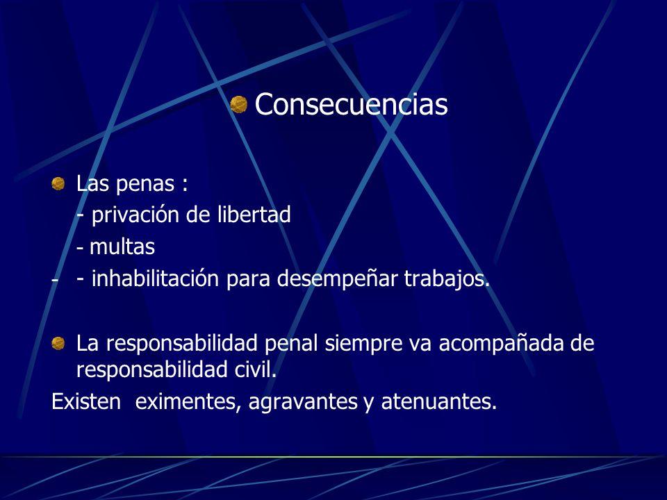 Consecuencias Las penas : - privación de libertad - multas