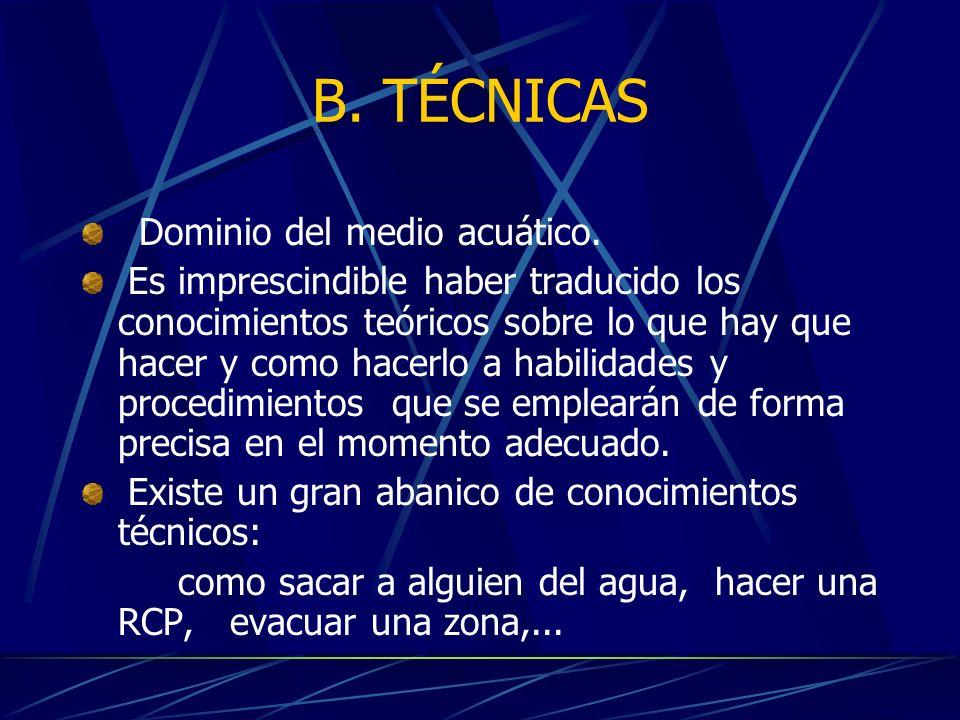 B. TÉCNICAS Dominio del medio acuático.