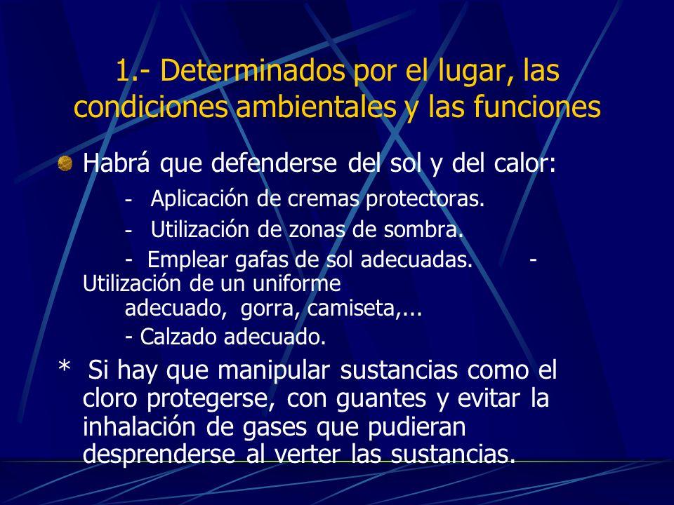 1.- Determinados por el lugar, las condiciones ambientales y las funciones