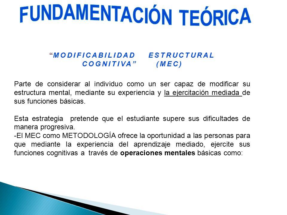 FUNDAMENTACIÓN TEÓRICA MODIFICABILIDAD ESTRUCTURAL COGNITIVA (MEC)