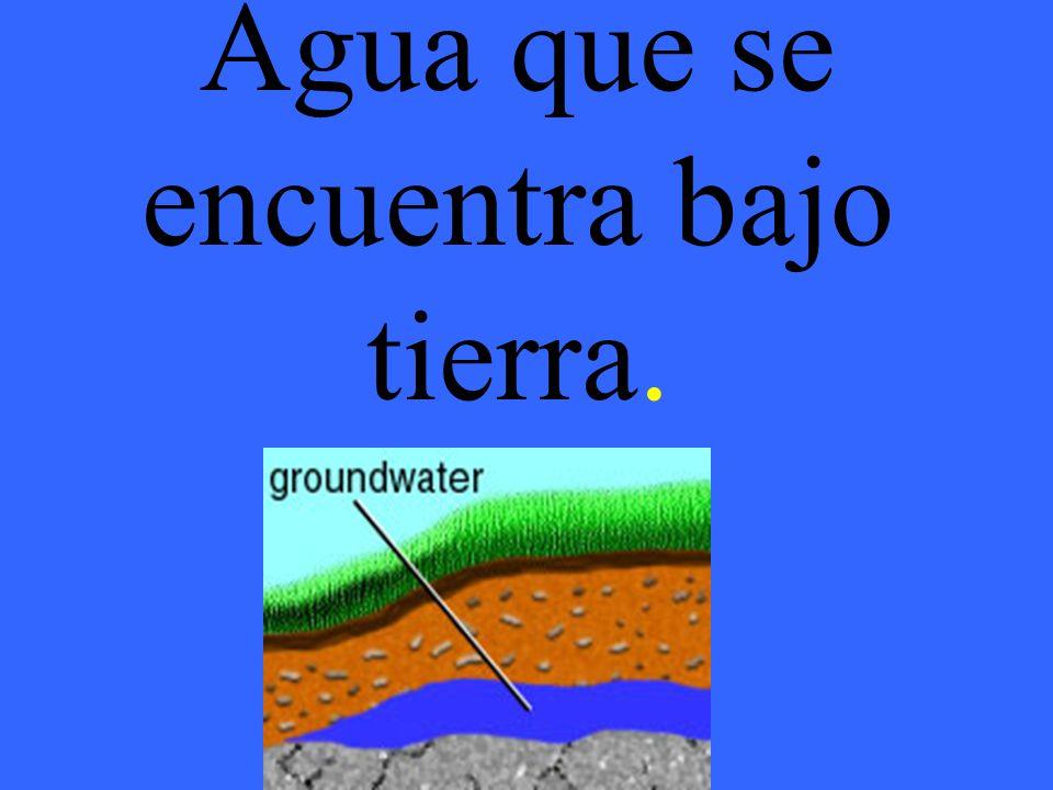 Agua que se encuentra bajo tierra.