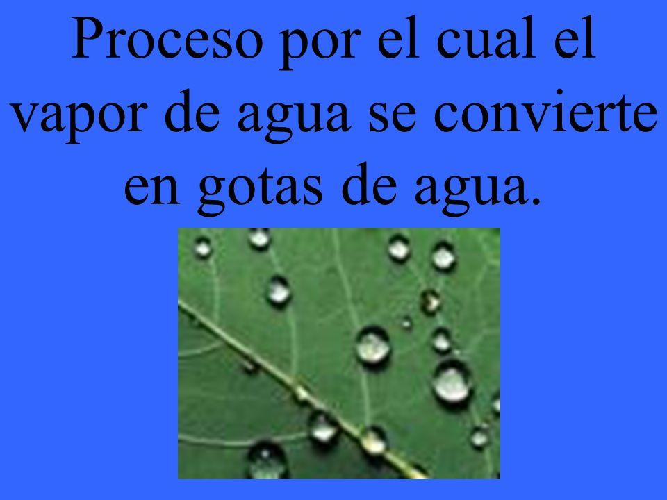 Proceso por el cual el vapor de agua se convierte en gotas de agua.
