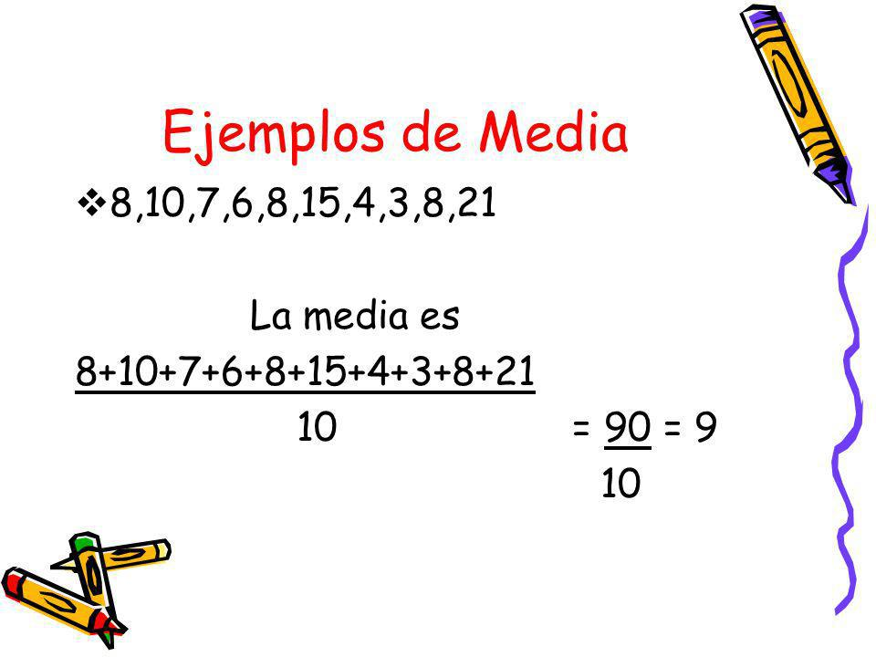 Ejemplos de Media 8,10,7,6,8,15,4,3,8,21 La media es