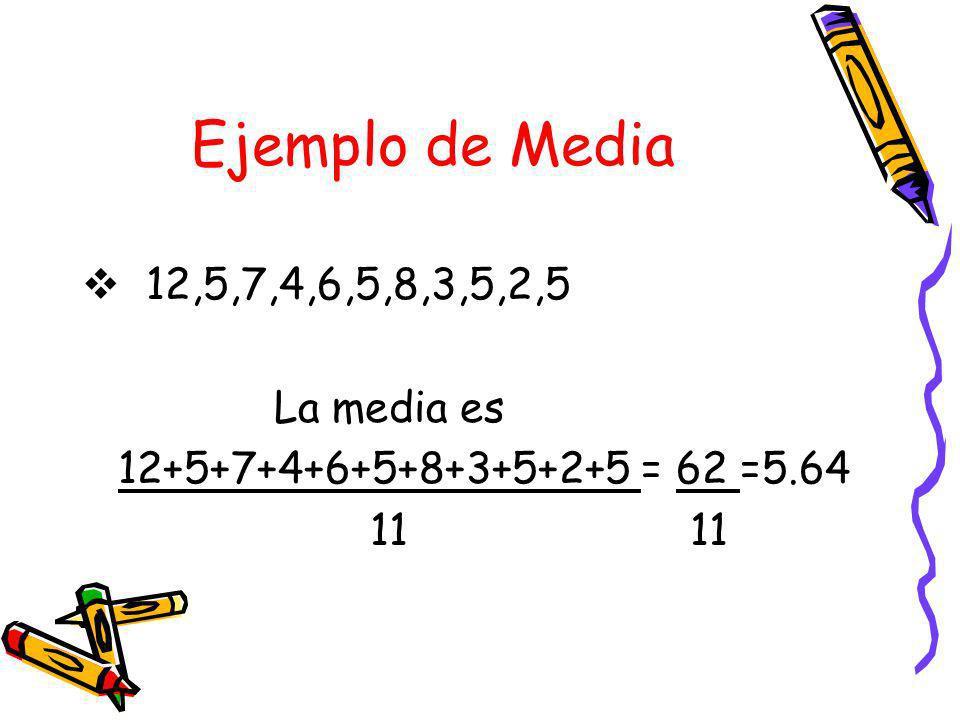 Ejemplo de Media 12,5,7,4,6,5,8,3,5,2,5 La media es