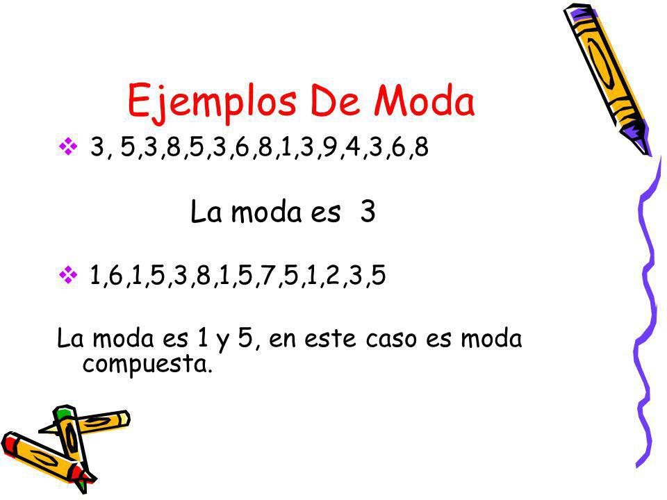 Ejemplos De Moda La moda es 3 3, 5,3,8,5,3,6,8,1,3,9,4,3,6,8