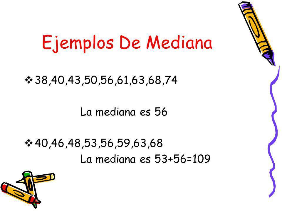 Ejemplos De Mediana 38,40,43,50,56,61,63,68,74 La mediana es 56