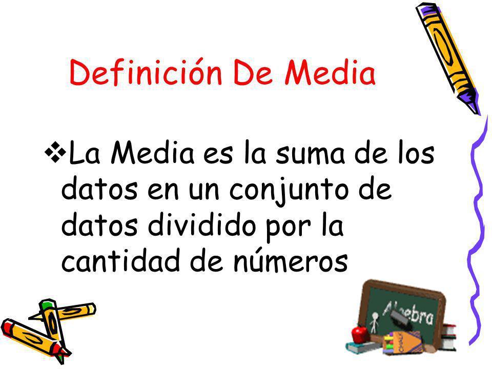 Definición De MediaLa Media es la suma de los datos en un conjunto de datos dividido por la cantidad de números.