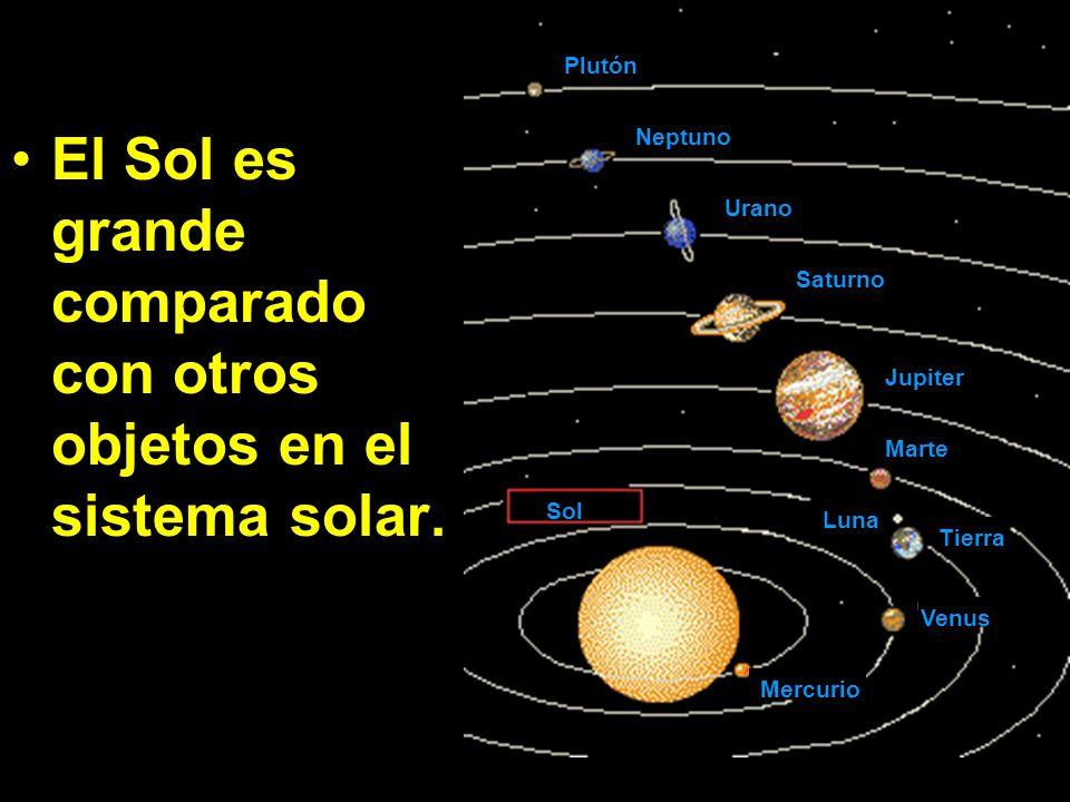 El Sol es grande comparado con otros objetos en el sistema solar.