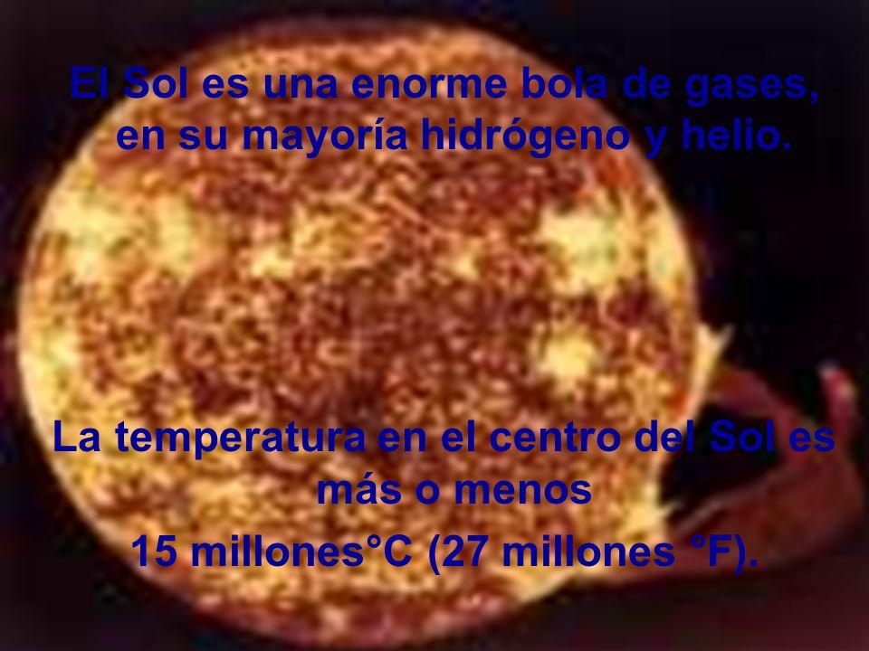 El Sol es una enorme bola de gases, en su mayoría hidrógeno y helio.
