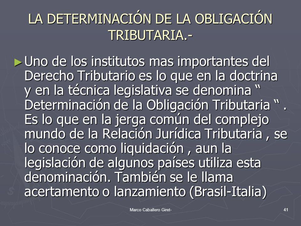 LA DETERMINACIÓN DE LA OBLIGACIÓN TRIBUTARIA.-
