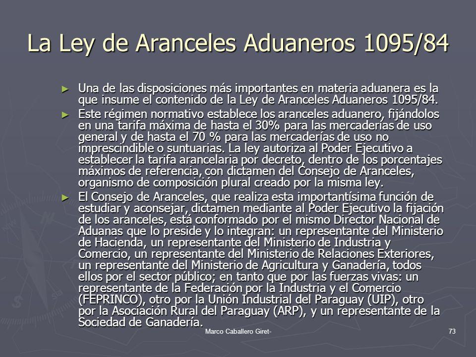 La Ley de Aranceles Aduaneros 1095/84