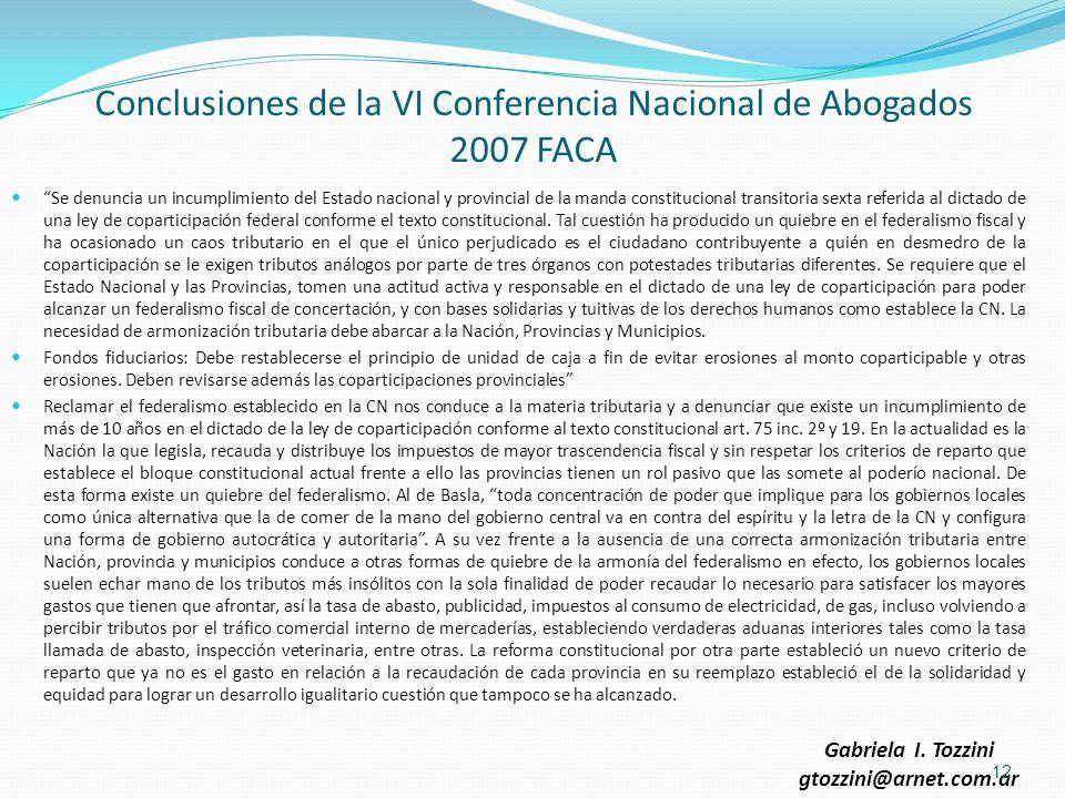 Conclusiones de la VI Conferencia Nacional de Abogados 2007 FACA