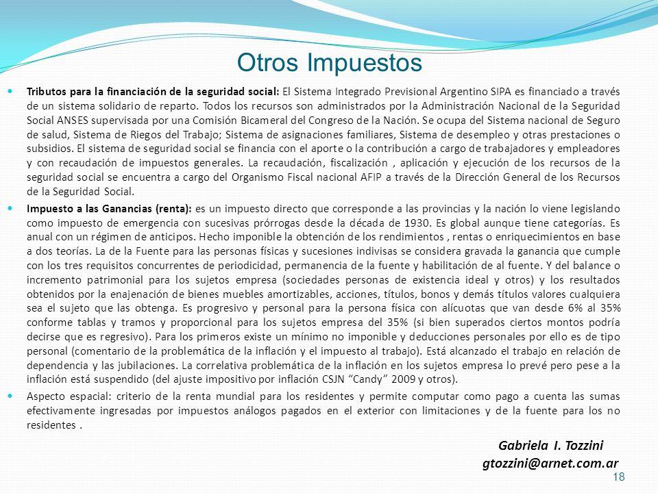 Otros Impuestos Gabriela I. Tozzini gtozzini@arnet.com.ar