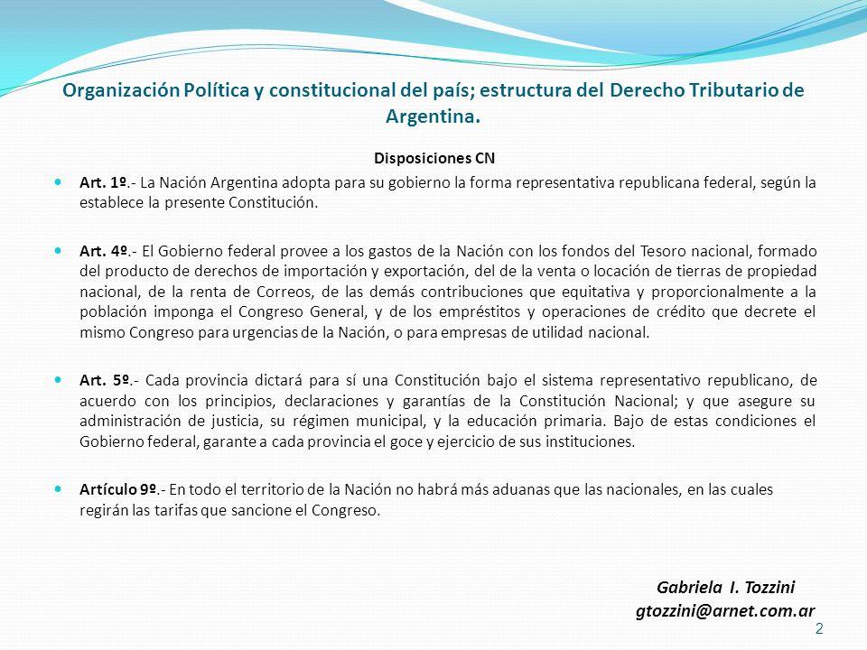 Organización Política y constitucional del país; estructura del Derecho Tributario de Argentina.