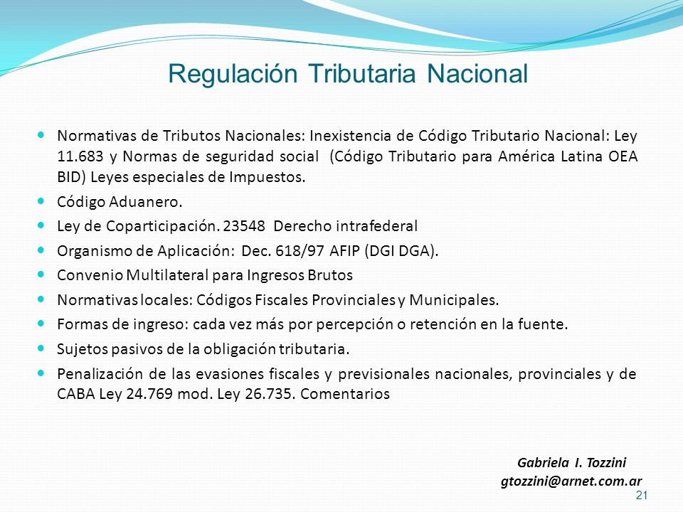 Regulación Tributaria Nacional