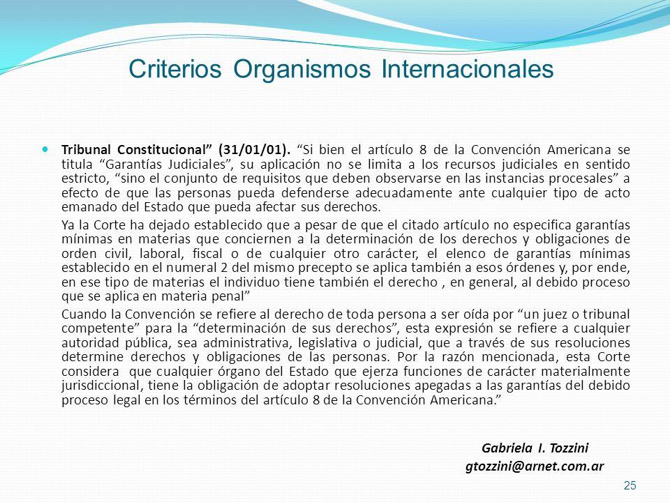 Criterios Organismos Internacionales