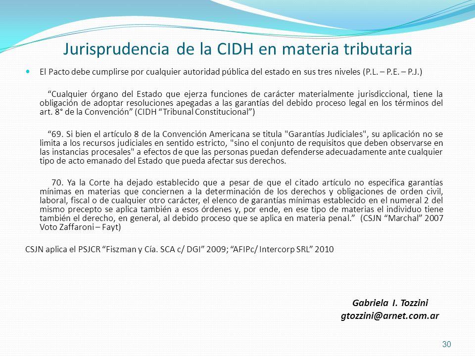 Jurisprudencia de la CIDH en materia tributaria