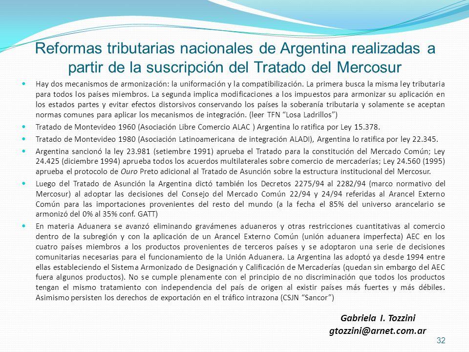 Reformas tributarias nacionales de Argentina realizadas a partir de la suscripción del Tratado del Mercosur