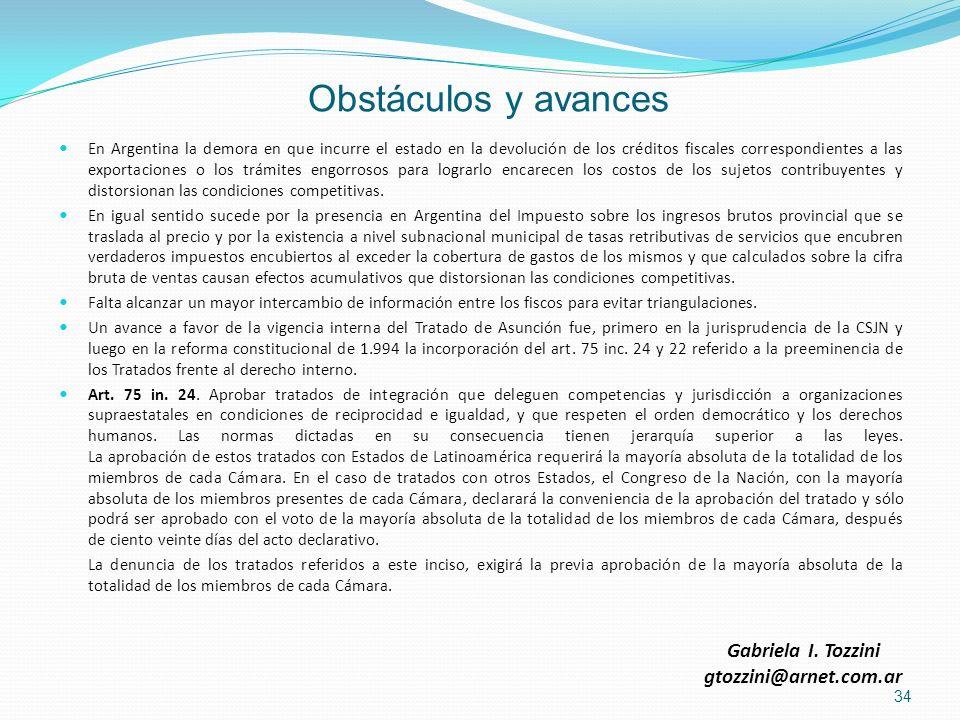 Obstáculos y avances Gabriela I. Tozzini gtozzini@arnet.com.ar