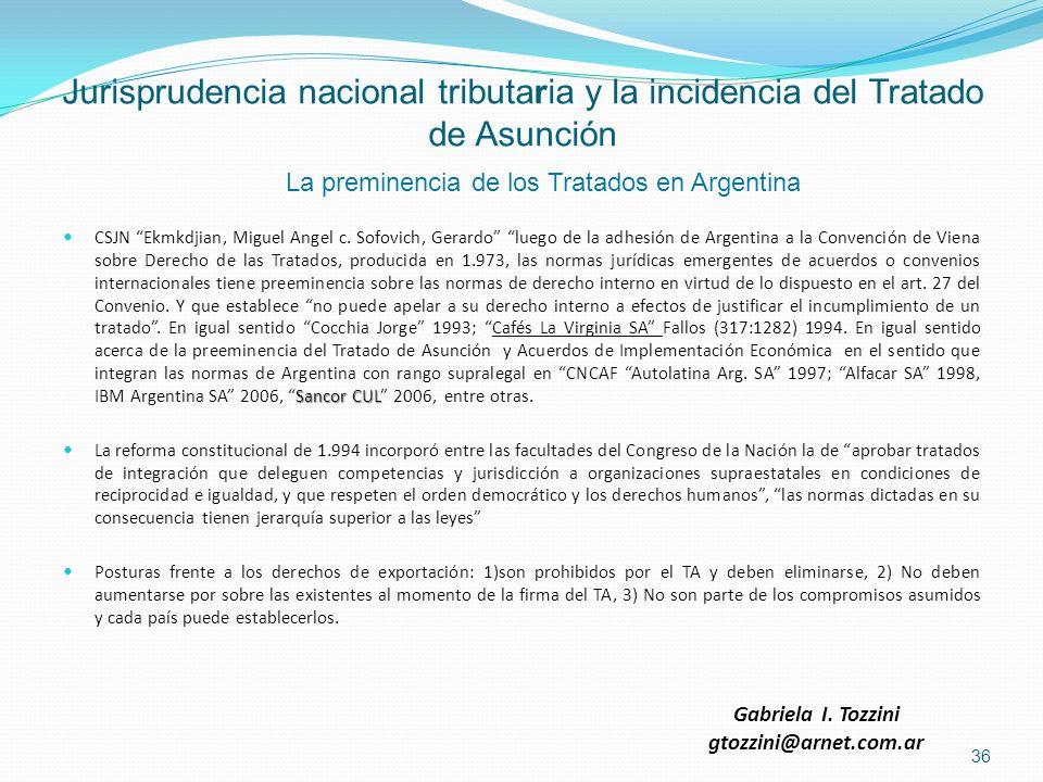 Jurisprudencia nacional tributaria y la incidencia del Tratado de Asunción