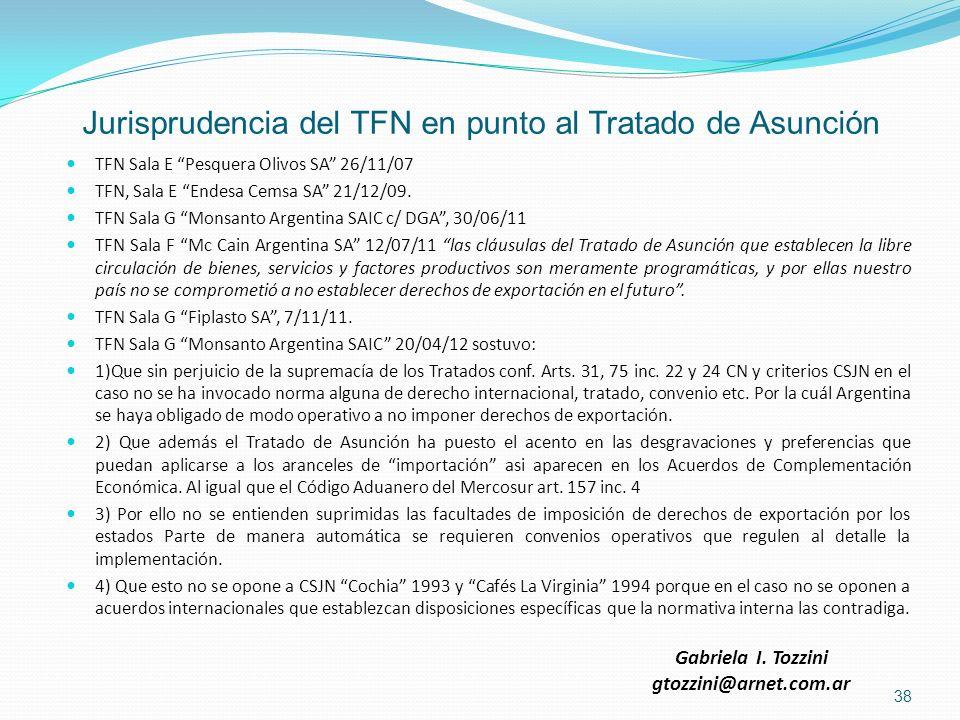 Jurisprudencia del TFN en punto al Tratado de Asunción