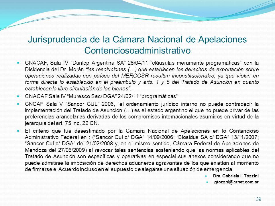 Jurisprudencia de la Cámara Nacional de Apelaciones Contenciosoadministrativo