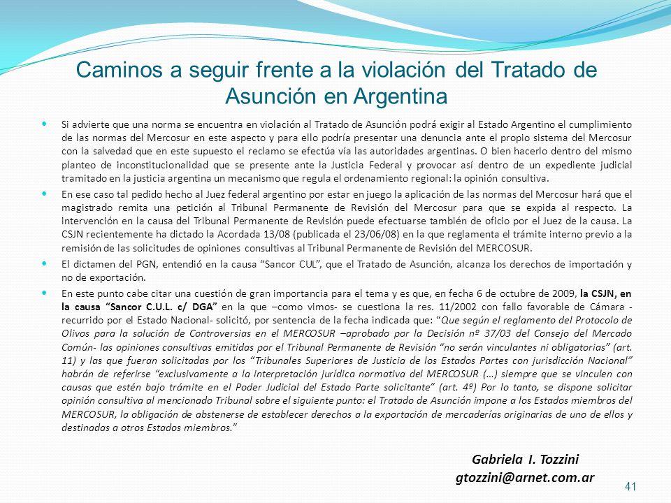 Caminos a seguir frente a la violación del Tratado de Asunción en Argentina