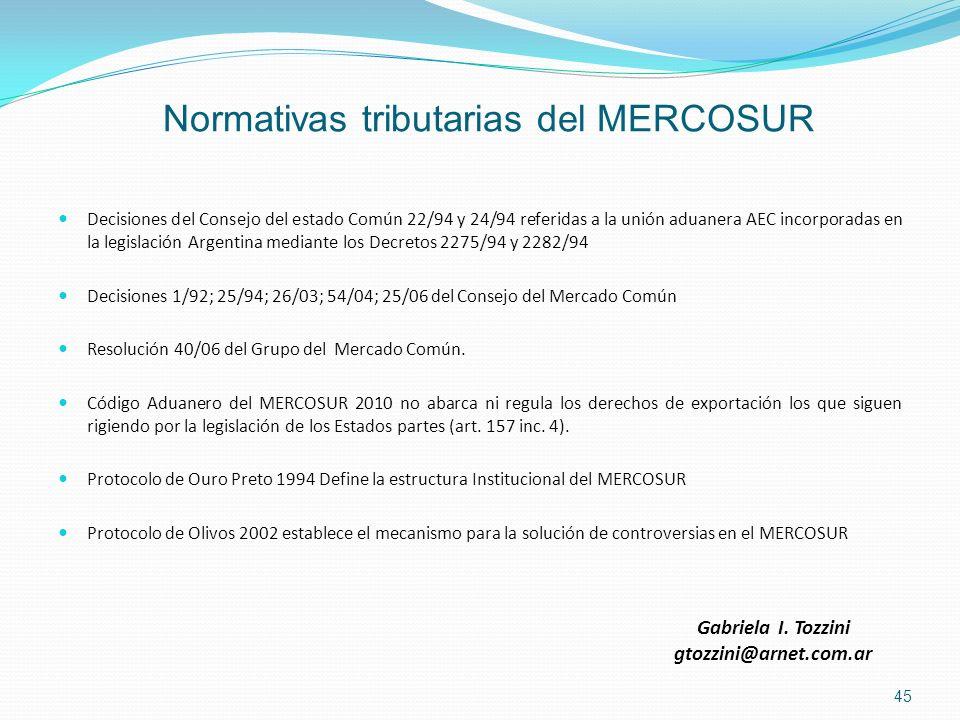 Normativas tributarias del MERCOSUR