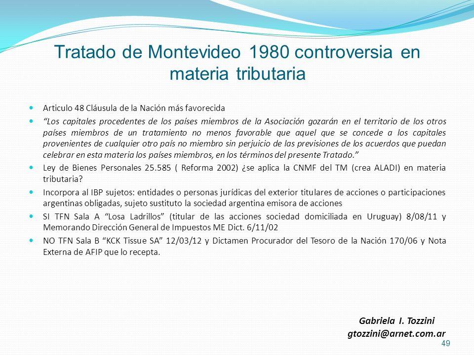 Tratado de Montevideo 1980 controversia en materia tributaria