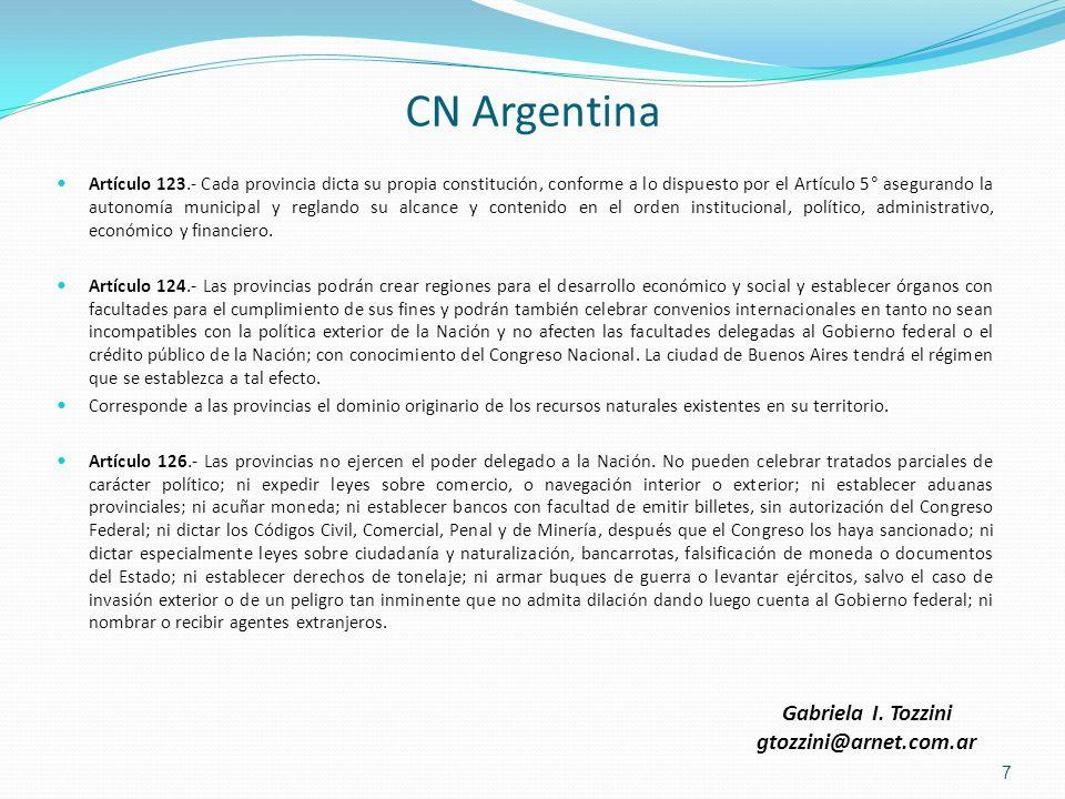 CN Argentina Gabriela I. Tozzini gtozzini@arnet.com.ar
