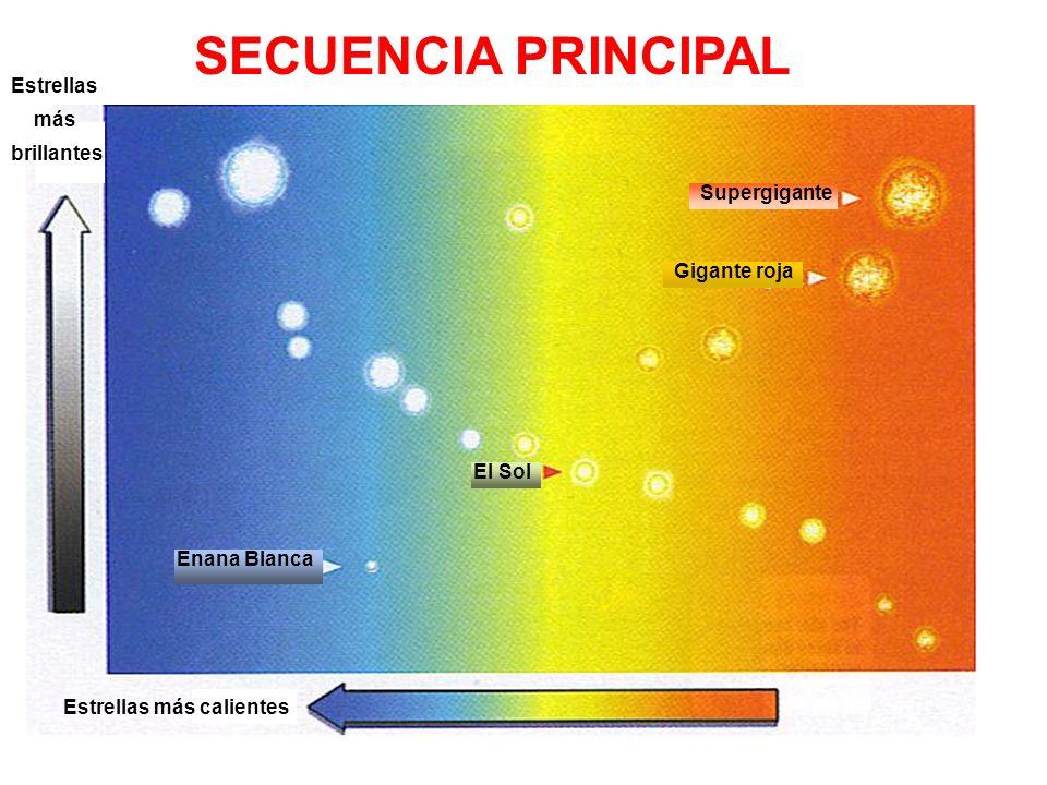 SECUENCIA PRINCIPAL Estrellas más brillantes Supergigante Gigante roja