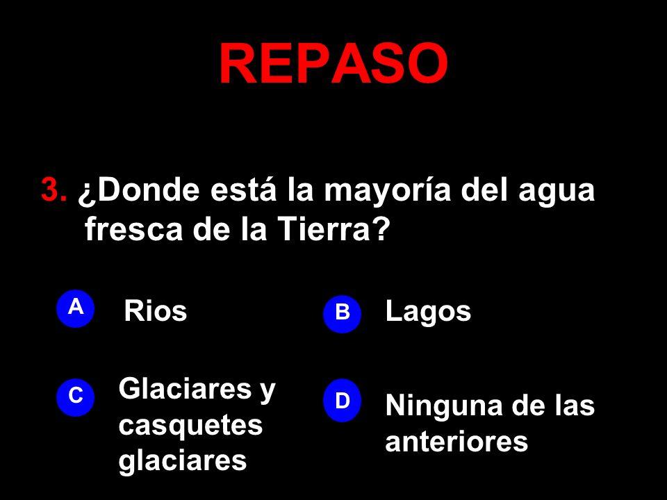 REPASO 3. ¿Donde está la mayoría del agua fresca de la Tierra Rios