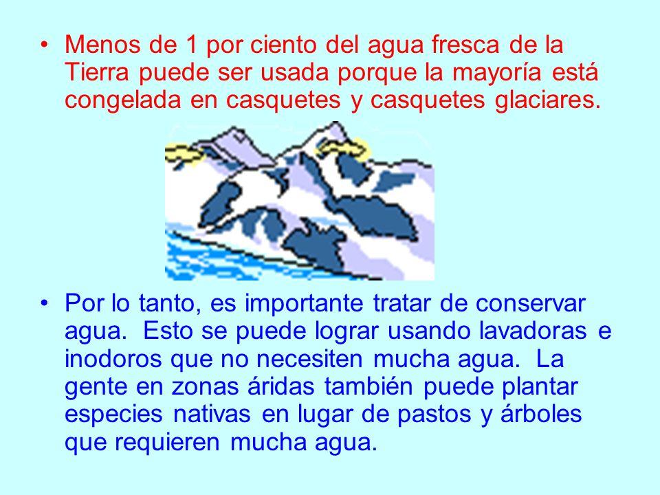Menos de 1 por ciento del agua fresca de la Tierra puede ser usada porque la mayoría está congelada en casquetes y casquetes glaciares.