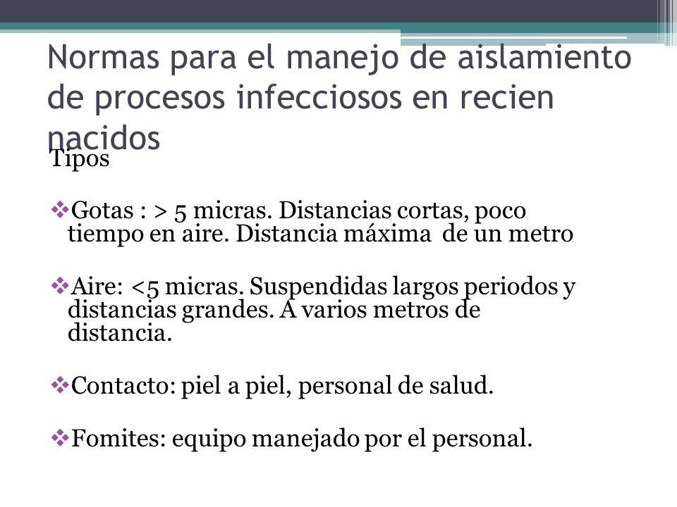 Normas para el manejo de aislamiento de procesos infecciosos en recien nacidos