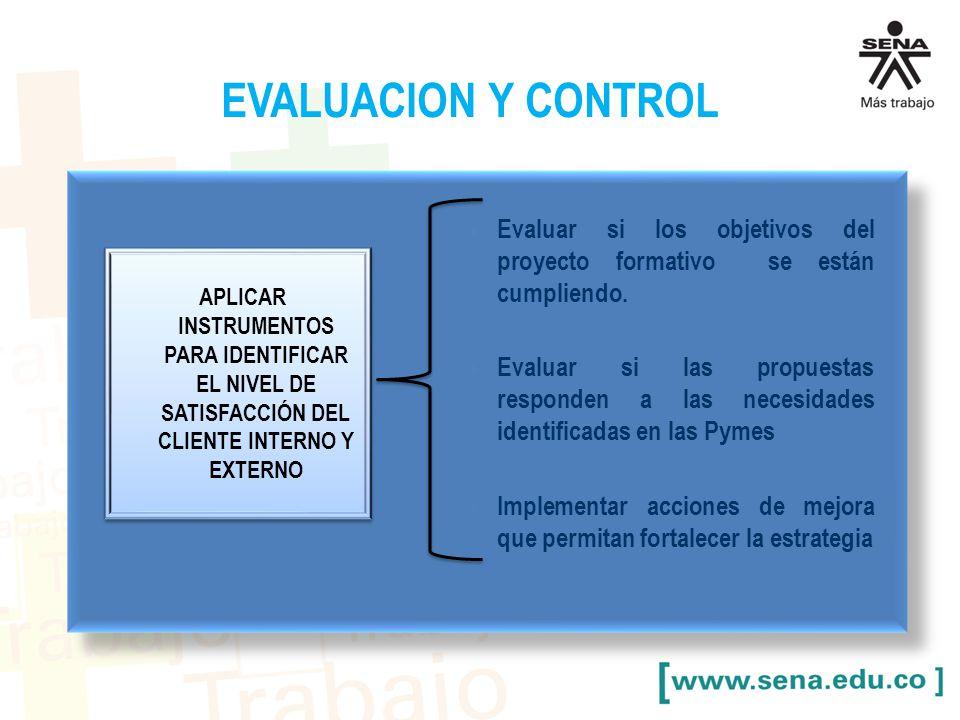 EVALUACION Y CONTROL Evaluar si los objetivos del proyecto formativo se están cumpliendo.