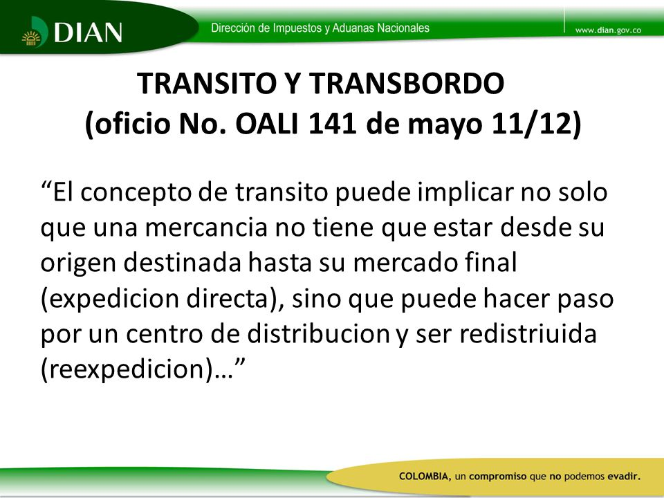TRANSITO Y TRANSBORDO (oficio No. OALI 141 de mayo 11/12)
