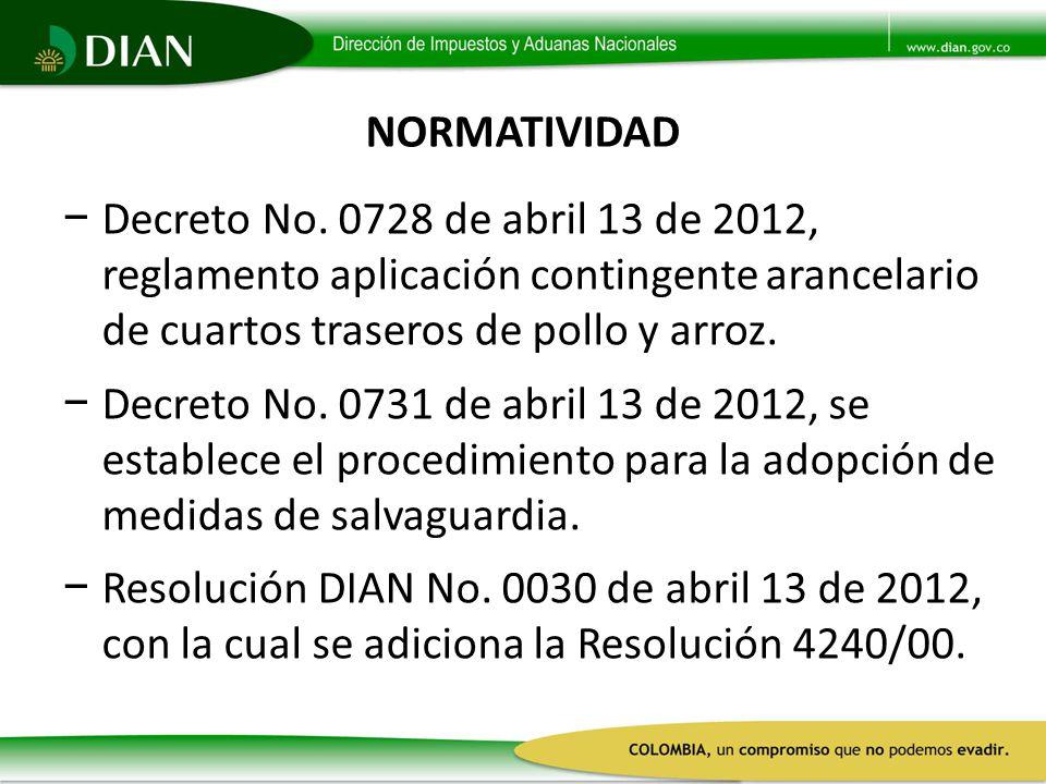 NORMATIVIDAD Decreto No. 0728 de abril 13 de 2012, reglamento aplicación contingente arancelario de cuartos traseros de pollo y arroz.