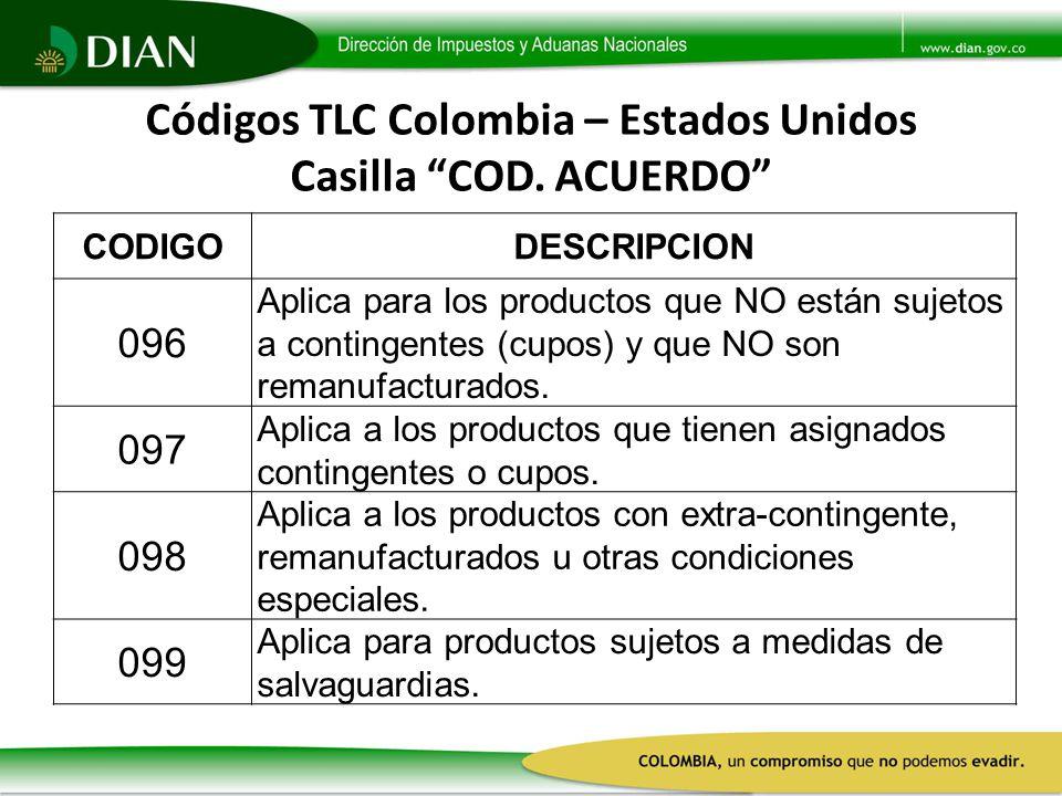 Códigos TLC Colombia – Estados Unidos Casilla COD. ACUERDO