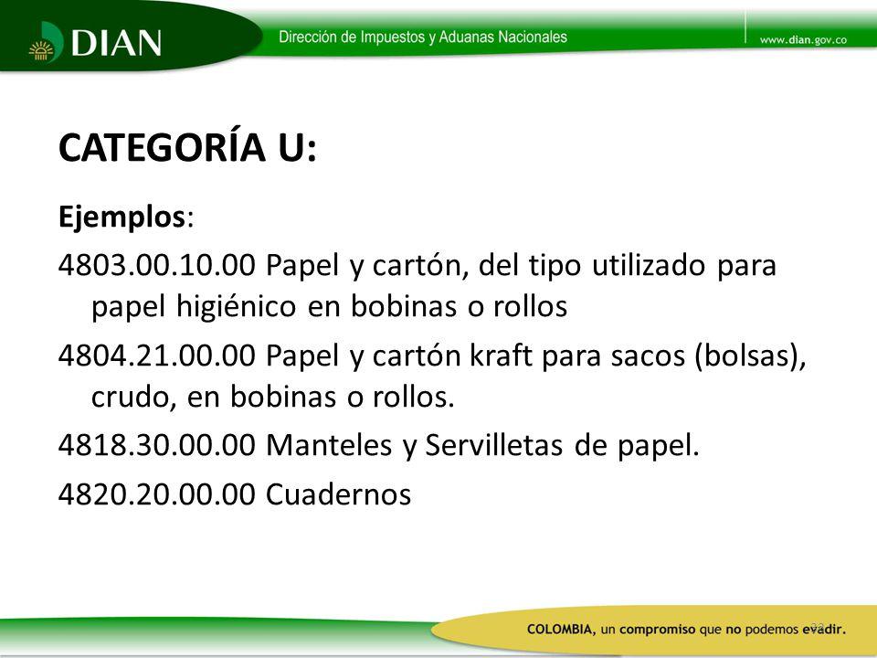 CATEGORÍA U: Ejemplos: