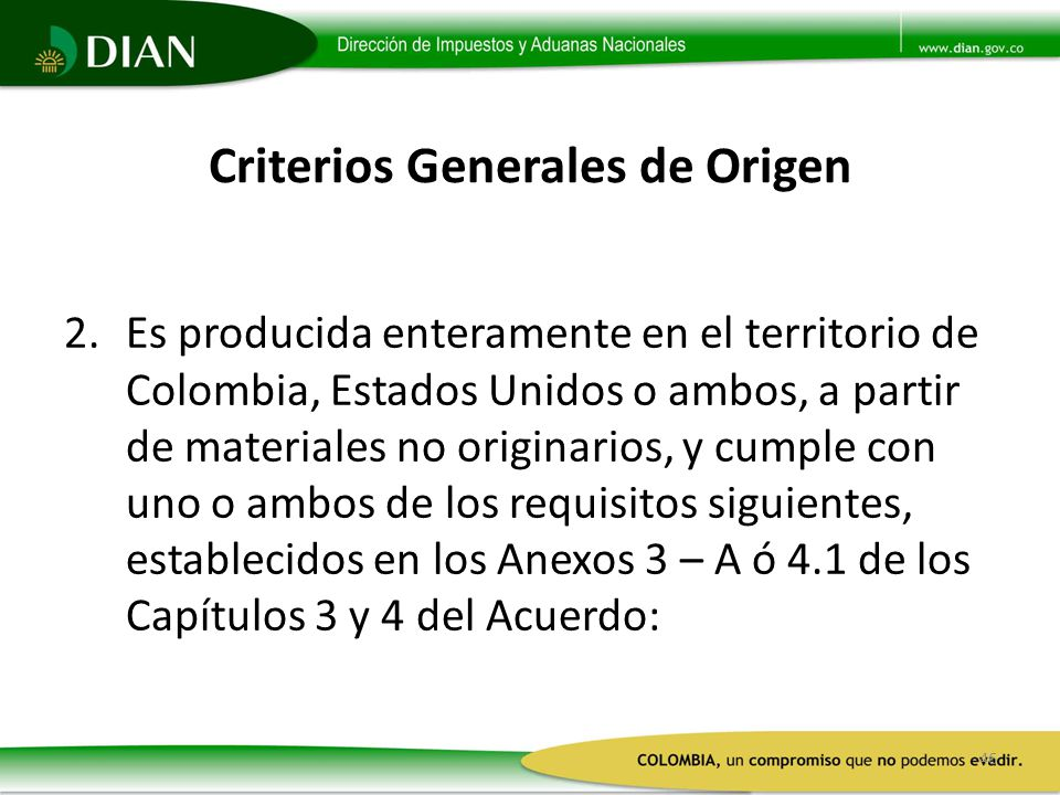 Criterios Generales de Origen