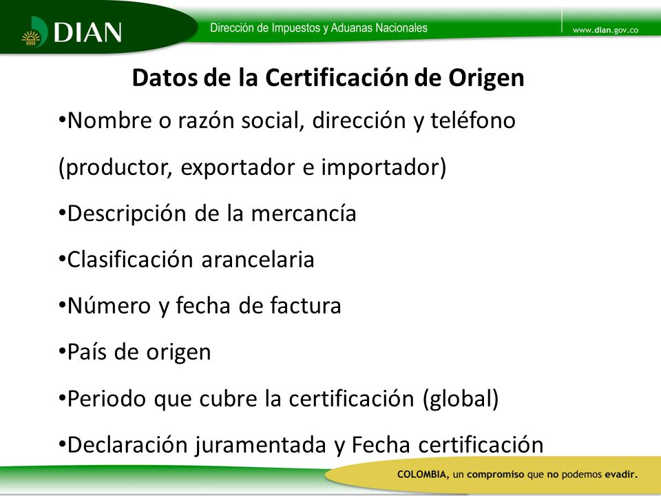 Datos de la Certificación de Origen