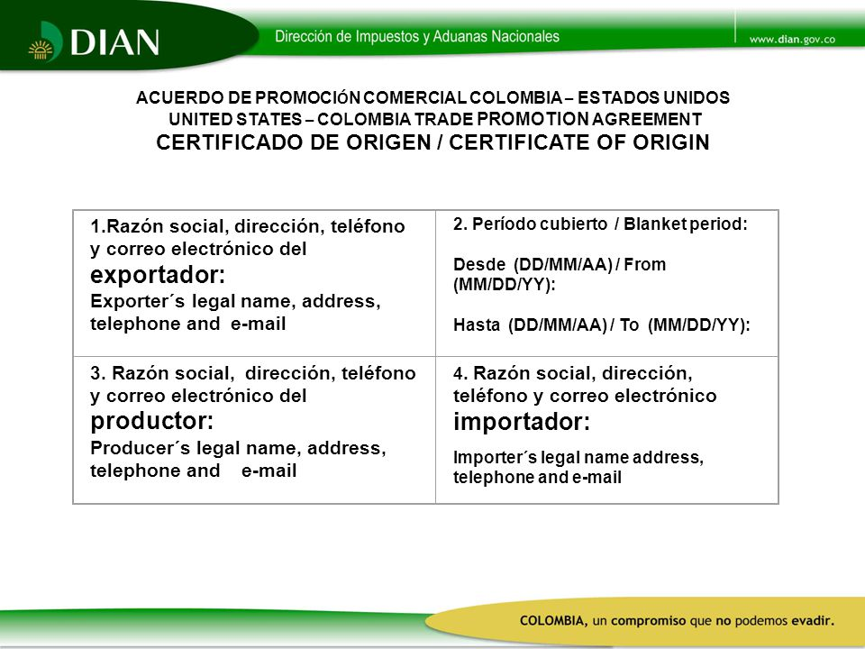 Exporter´s legal name, address, telephone and e-mail