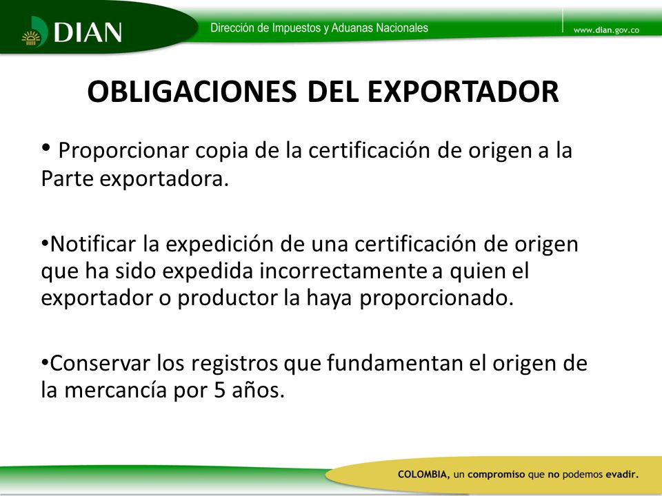 OBLIGACIONES DEL EXPORTADOR