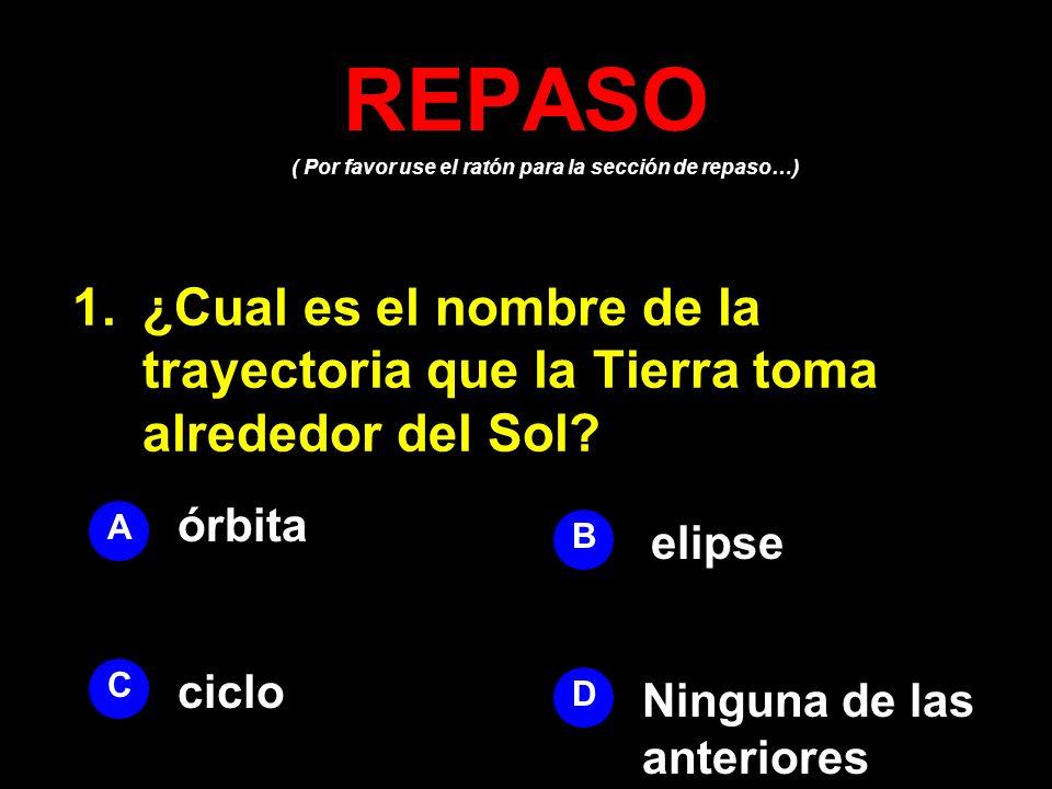 REPASO ( Por favor use el ratón para la sección de repaso…) ¿Cual es el nombre de la trayectoria que la Tierra toma alrededor del Sol