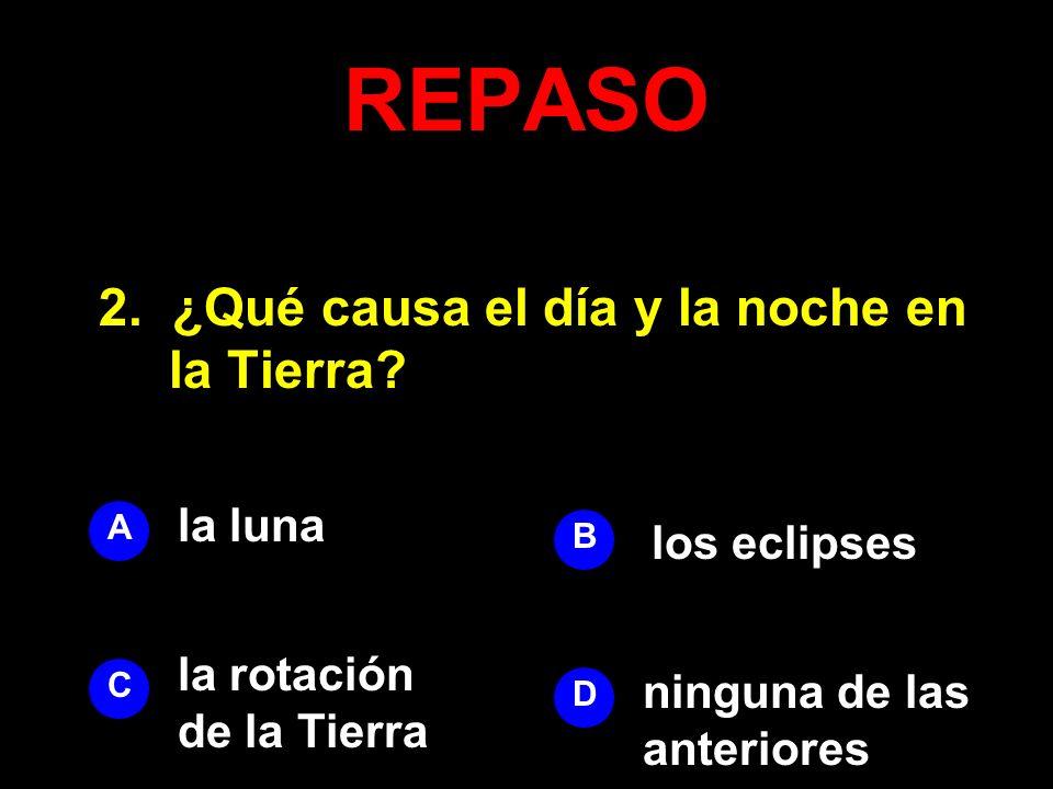 REPASO 2. ¿Qué causa el día y la noche en la Tierra la luna
