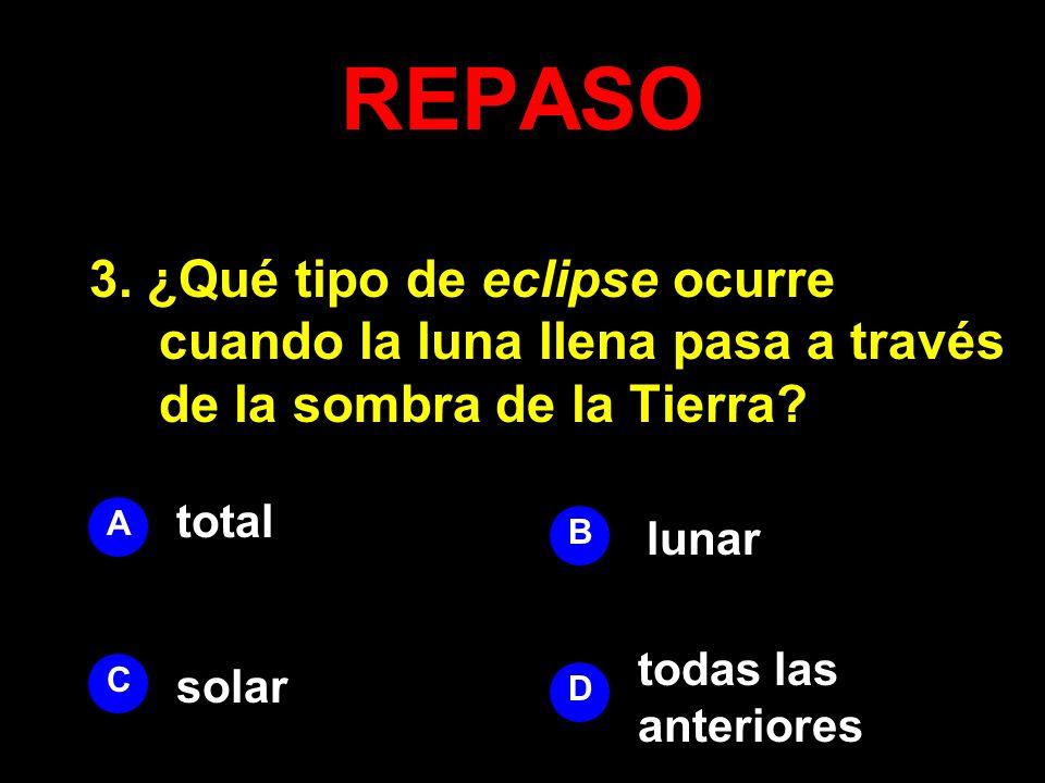REPASO 3. ¿Qué tipo de eclipse ocurre cuando la luna llena pasa a través de la sombra de la Tierra