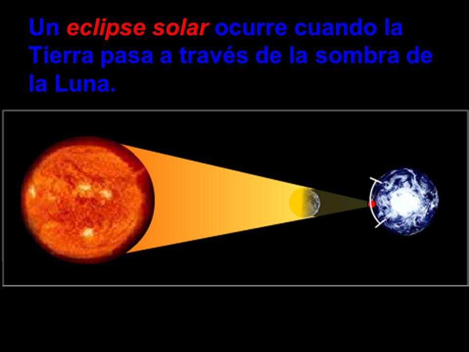 Un eclipse solar ocurre cuando la Tierra pasa a través de la sombra de la Luna.
